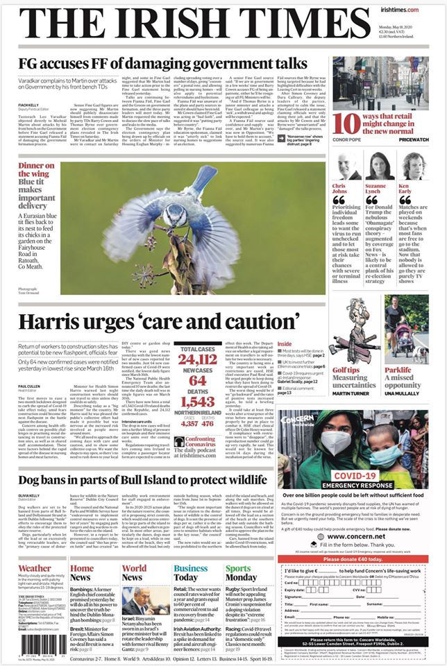 Irish Times Front Cover featuring photo by Tom Ormond