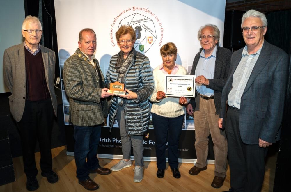 Dominic Reddin, FIPF presenting the Andorra Trophy to members of Celbridge Camera Club