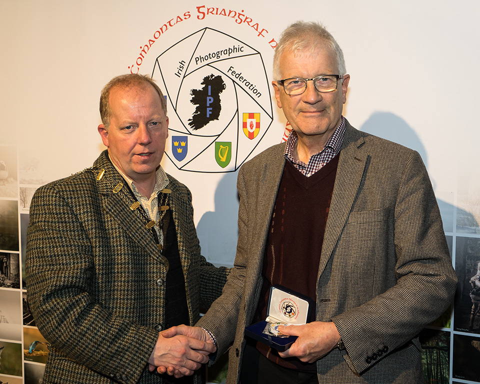 Dominic Reddin, FIPF presenting the Silver Medal to Pat Collins