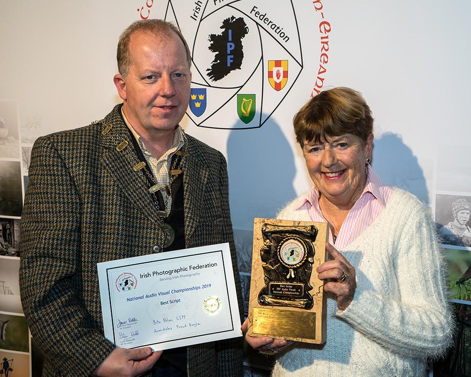 Dominic Reddin, FIPF prsenting the Best Script Trophy to Rita Nolan, LIPF