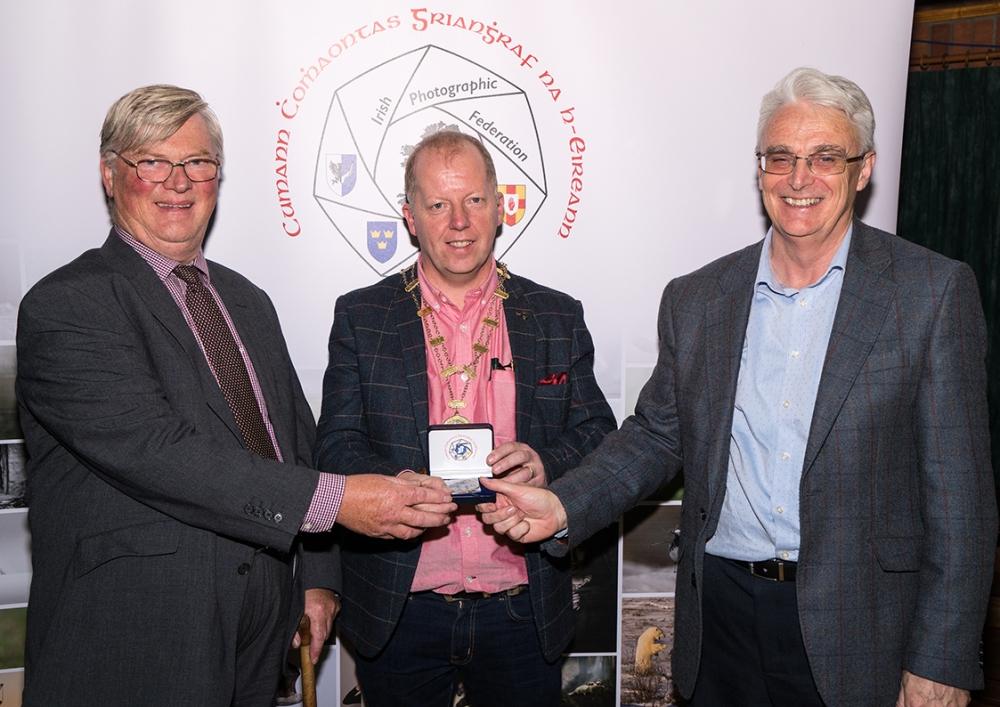 Dominic Reddin, President, IPF presenting Edwin Bailey & Brendan O'Sullivan - joint winners of the Audience Vote, IPF AV Nationals - 21st Octobe