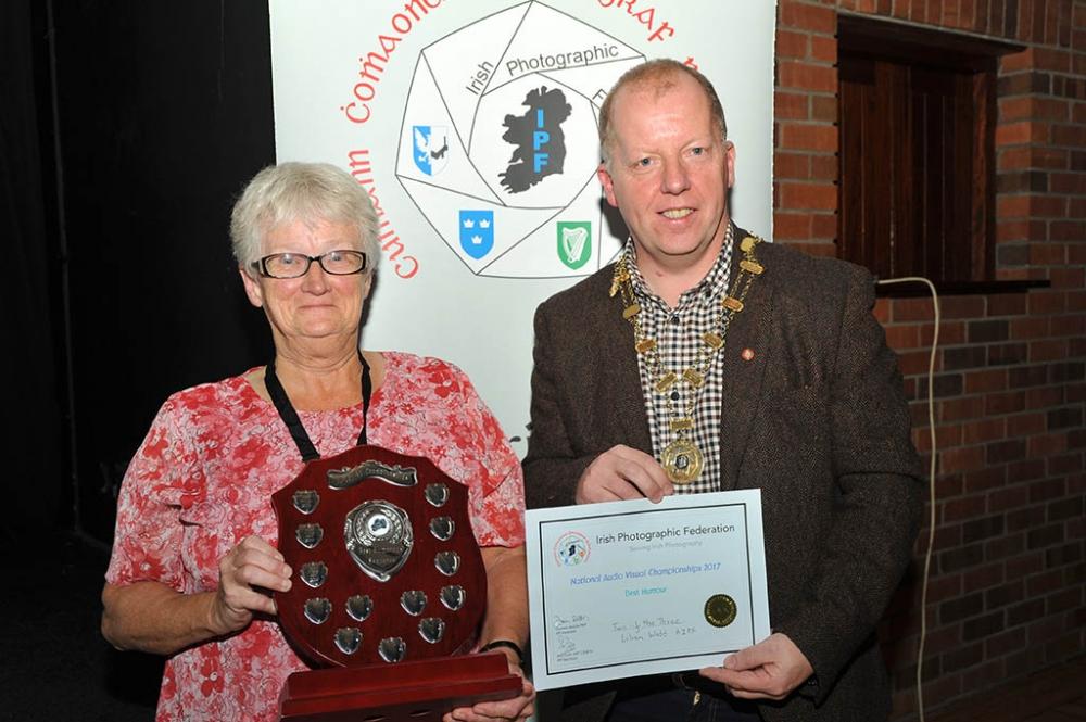 Lilian Webb receiving her award for Best Humour