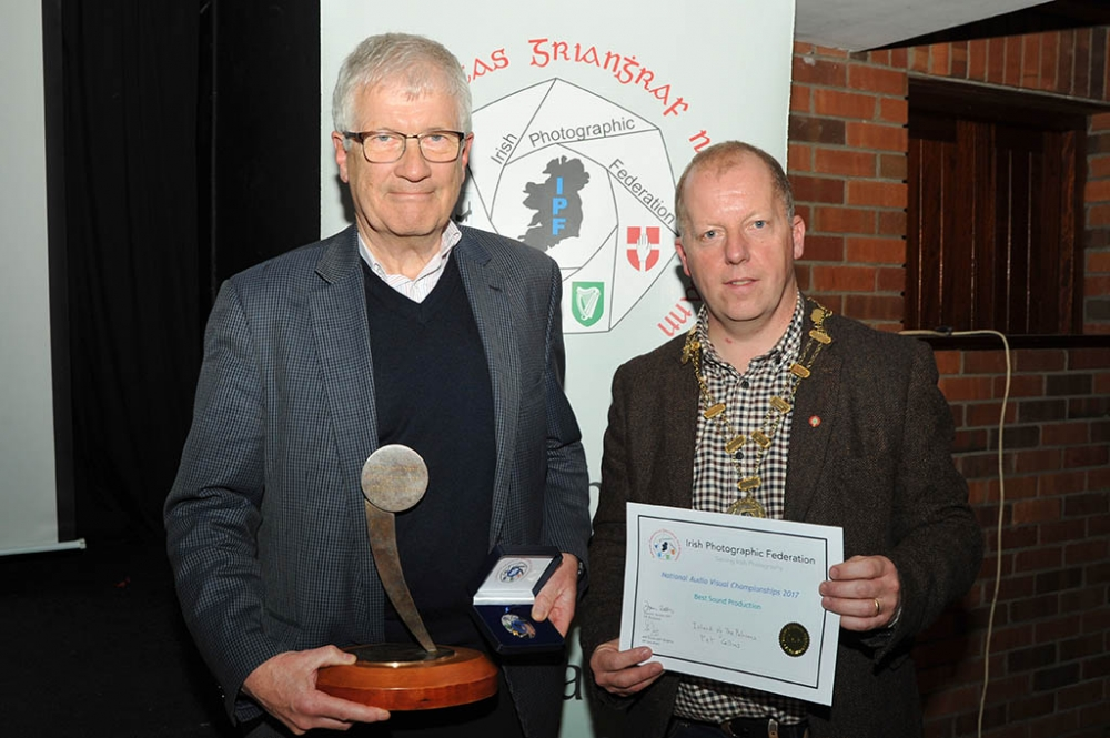 Pat Collins receiving his awards for Best Sound and Best Novice Entry